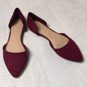 Forever 21 Flats Sz 7.5 Red Maroon Suede Wine